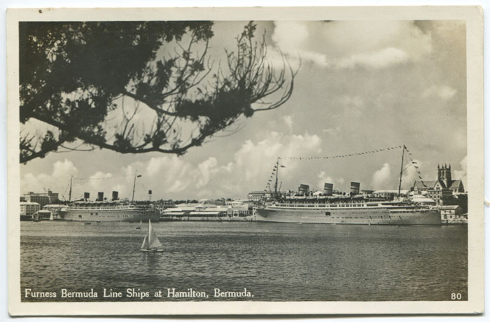 Furness Bermuda Line ships at Hamilton, circa 1935