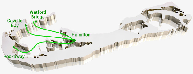 Bermuda Ferry-Map-Green-Route