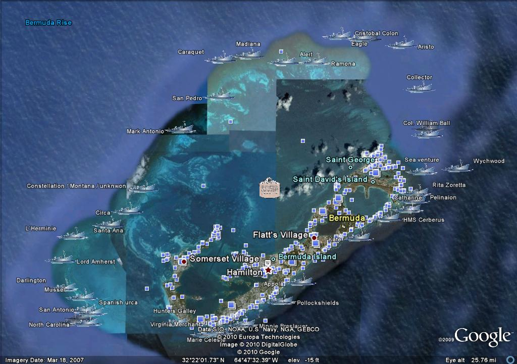 Bermuda shipwreck google earth map recently gumiabroncs Image collections