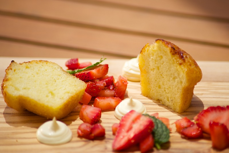 Rum Cake with Strawberry Salad