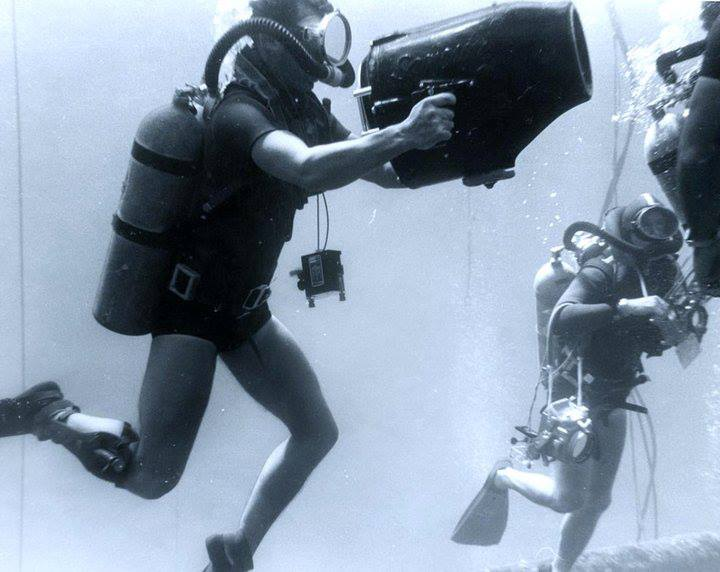 U.S. Navy Photographers at work during SeaLab I operations off Bermuda in July 1964:
