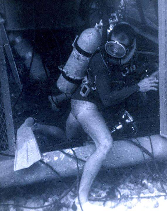 "SeaLab I diver entering the ""Back Porch"" of Sealab I off Bermuda on July 23, 1964"