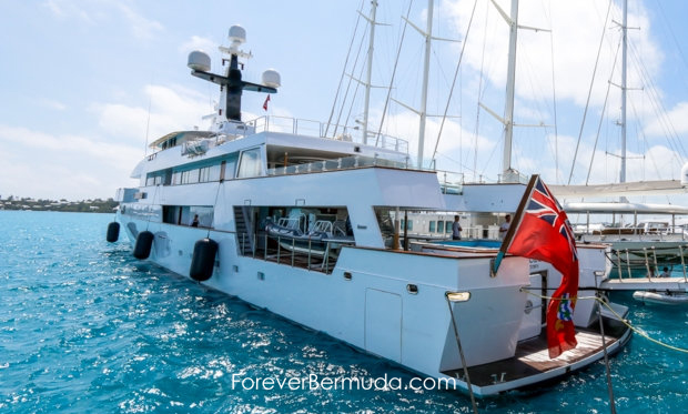 superyacht mega yacht 220 ft white cloud in Bermuda dock