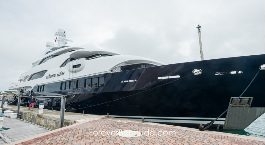 superyacht mega yacht martha ann in Bermuda dock