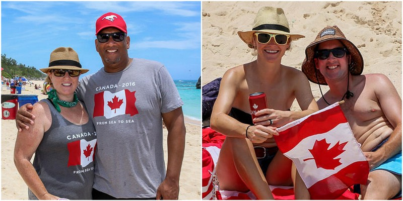 Attendees enjoy the Canada Day Beach Party at Warwick Long Bay