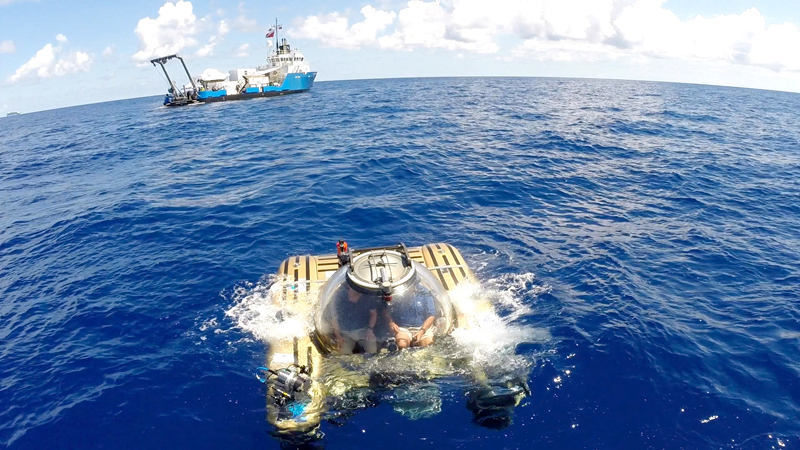 Submersible breaks the surface after dive