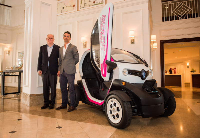 Allan and Piers with a Twizy.